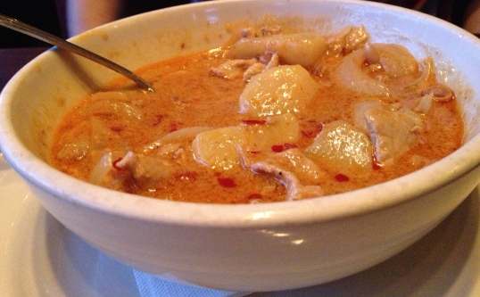 Massamun Curry: Red Curry, peanuts, potatoes, onions, and Chicken added