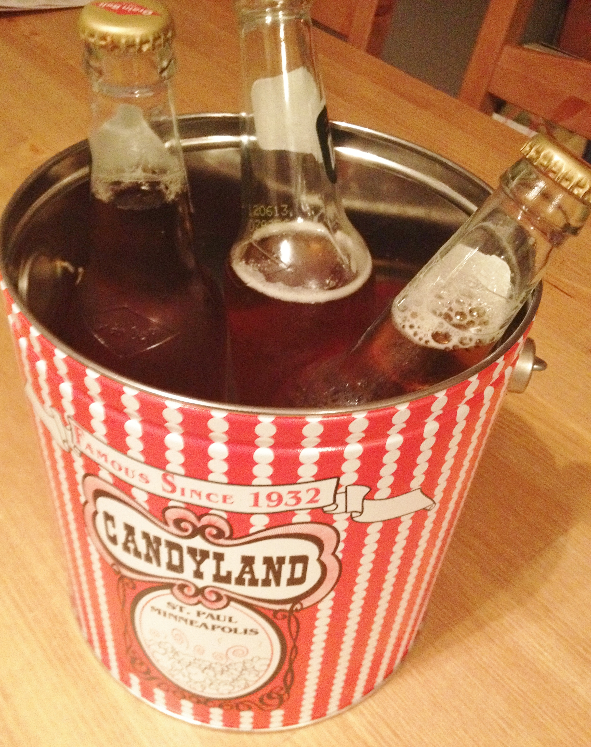 Candyland Ice bucket with Grain Belt and Summit Beer