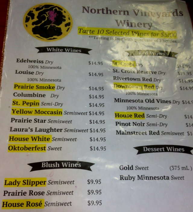 Northern Vineyards Winery Wine Menu in Stillwater, MN