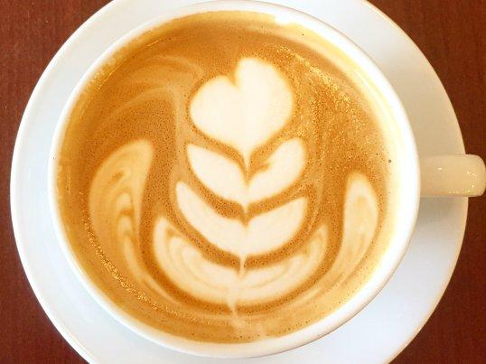 Latte Art in coffee at Rustica Bakery