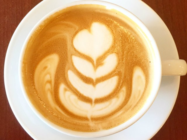 Latte Art in coffee at Rustica Bakery